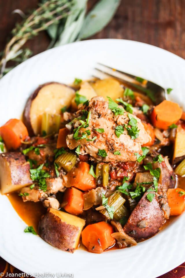Slow Cooker Chicken Vegetable Stew with Rosemary, Thyme and Sage Recipe ~ http://jeanetteshealthyliving.com
