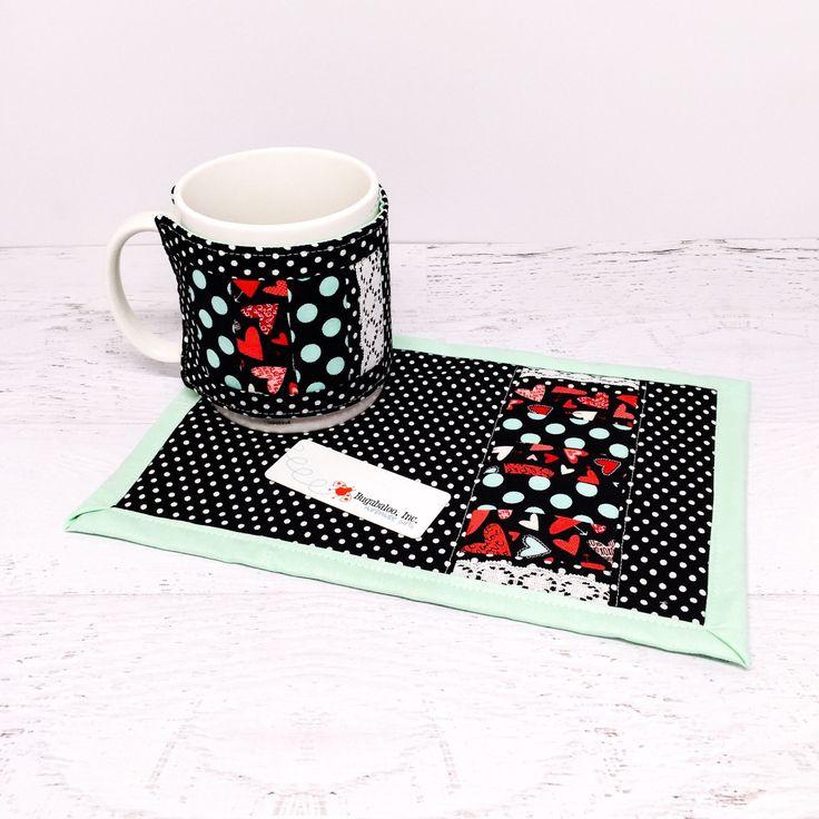 Mug Rug and Mug Cozy Gift Set - Valentine's Day Hearts and Polka Dots