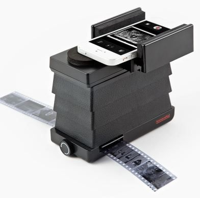 You can use this handy Lomography Smartphone Scanner to convert all those photo negatives in dusty shoeboxes to digital ones.