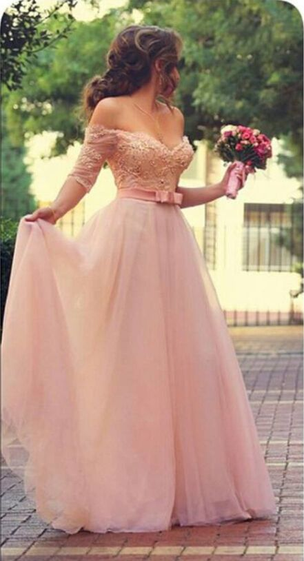 Princess Sweetheart Half Sleeve Tulle Prom Dress With Pearls and Appliques Floor Length - Babyonlinedress.com