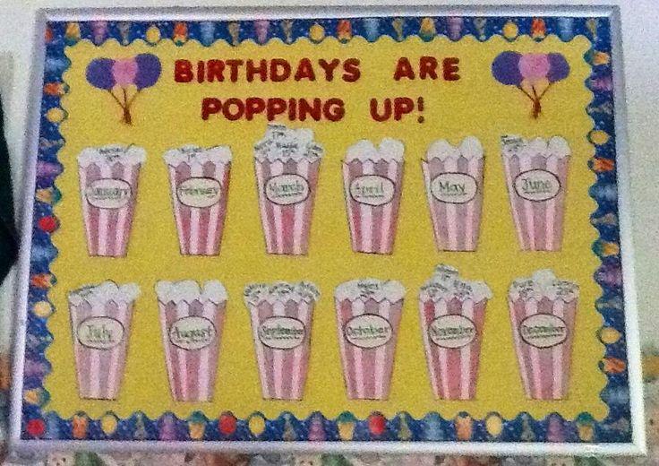 My Popcorn Birthday Board Birthday Bulletin Boards
