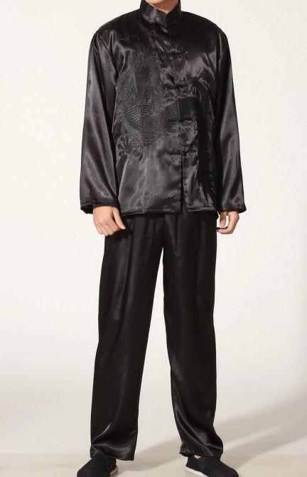 Black Chinese Men's Polyester Satin clothing set Wu Shu suits tracksuit Kung Fu Suit SIZE S M L XL XXL XXXL M0014