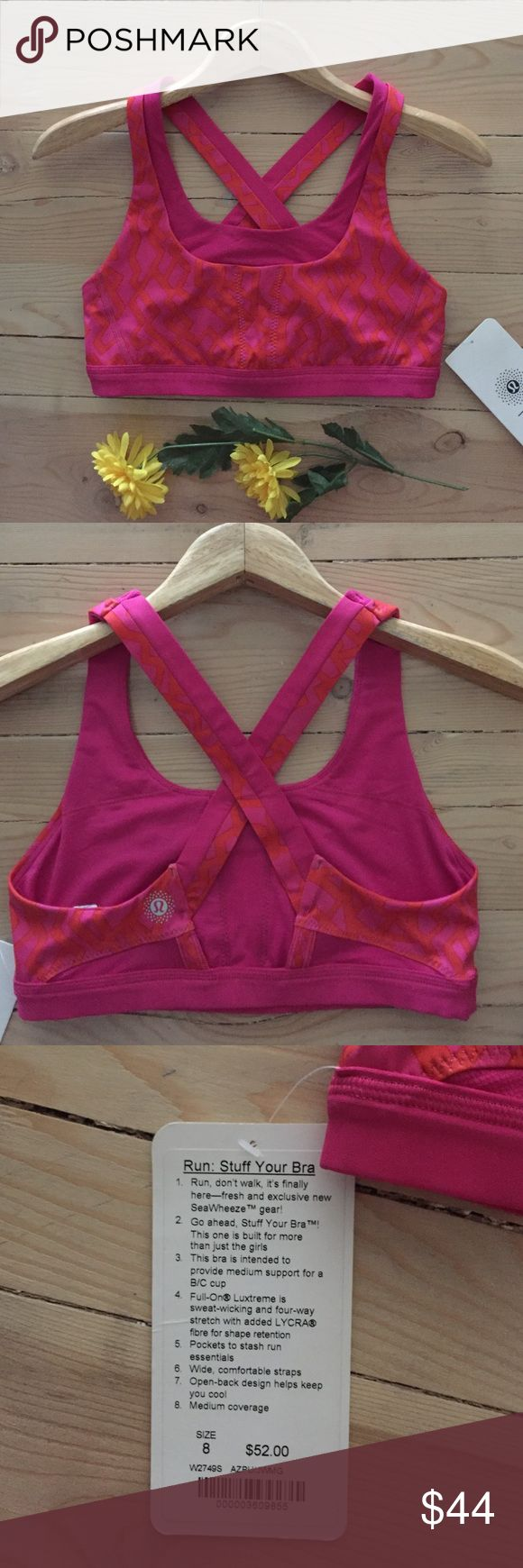 NWT Lululemon Stuff Your Bra Brand new with tags Stuff Your Bra.  This bra is intended to provide medium support for a B/C cup.  Full-On Luxtreme is sweat-wicking and four-way stretch with added Lyrca fiber for shape retention.  Pockets to stash run essentials.  Open back helps keep you cool.  In new condition. lululemon athletica Intimates & Sleepwear Bras
