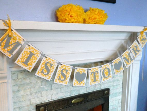 Damask Gray and Yellow Bridal Shower by anyoccasionbanners on Etsy, $30.25