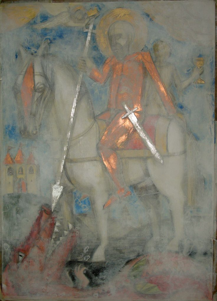 Sf. Gheorghe.culori acrilice si schlagmetal, 50x70 cm