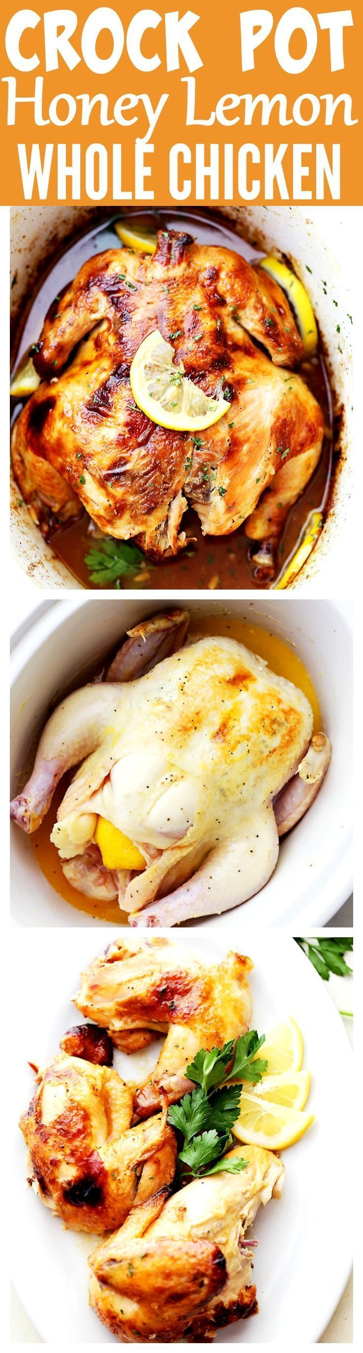 cool Crock Pot Honey Lemon Chicken Recipe - Rubbed with lemon-pepper butter and a swe...by http://dezdemooncooking.gdn