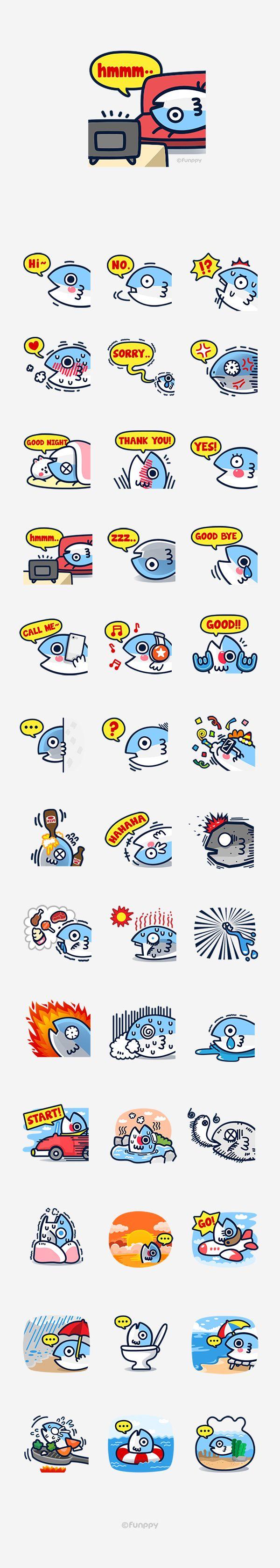 LINE emoticon / fishcon on Behance