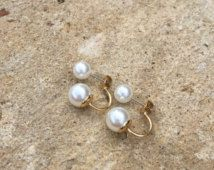 Double Pearl earrings, statement earrings, pear earrings, bridal jewelry