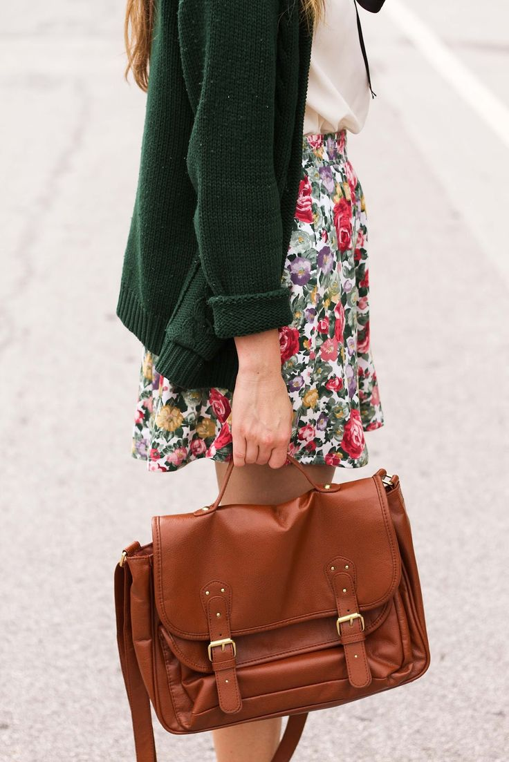 Jewel green chunky cardigan, white blouse, floral skirt, brown leather messenger