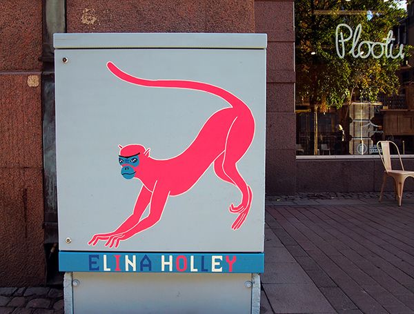 Pink Monkey by Elina Holley | G-REX Open Air Exhibition, Helsinki Design Week 2015 | #grex #exhibition #Helsinki #hdw2015 #elinaholley #character #pink #monkey #streetart #urbanart #art #painting #illustration #design #mural #electricbox #Isoroba #Punavuori