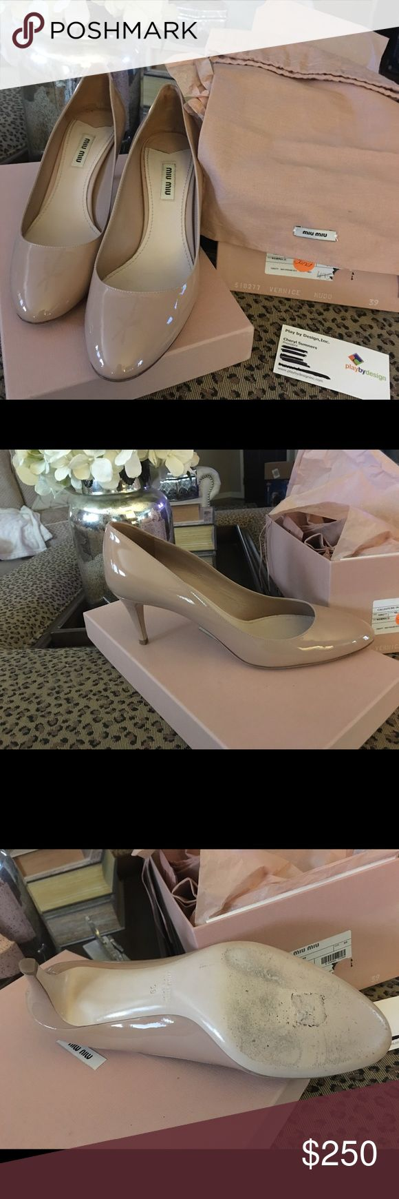 Miu miu pumps nude patent Worn once.  Like new with box.  Size 39 nude patent pumps.  Paid 495 on sale. Retail 990 Miu Miu Shoes Heels