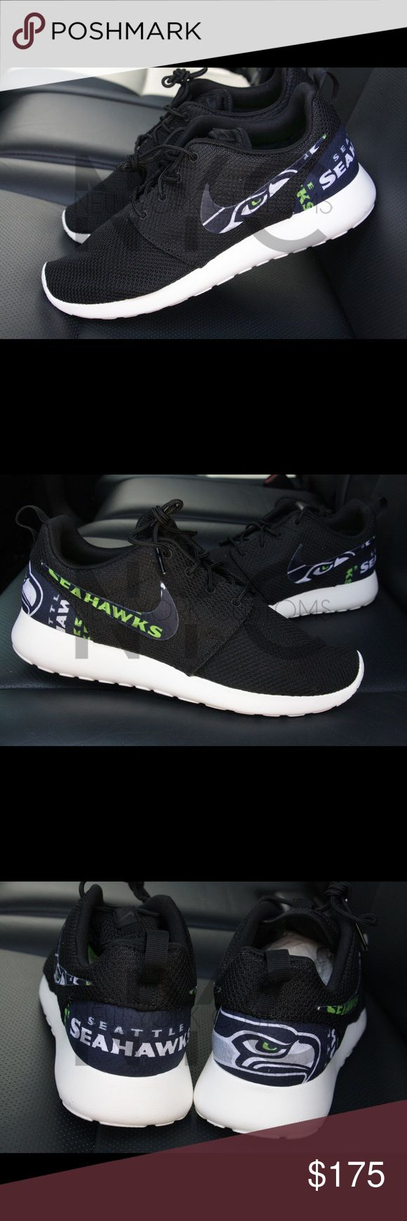 Seattle Seahawks Nike Roshe One Custom Sizes listed are for women. Men sizes 7-13 can be done upon request. This listing is for a custom designed Roshe. This is a fabric based custom. The design is glued on by us at NYCustoms. Stand out from the rest in this beautiful pair of Roshe Run. We only use 100% authentic Nike Roshes for our designs. Sorry, we wont be accepting offers. Our asking price is firm. Not accepting trades. Nike Shoes Athletic Shoes