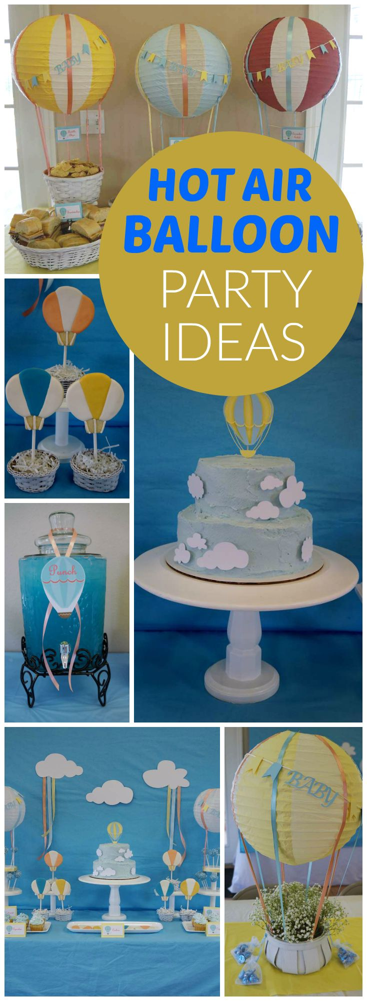 How sweet is this baby shower with a hot air balloon theme?! See more party ideas at CatchMyParty.com!