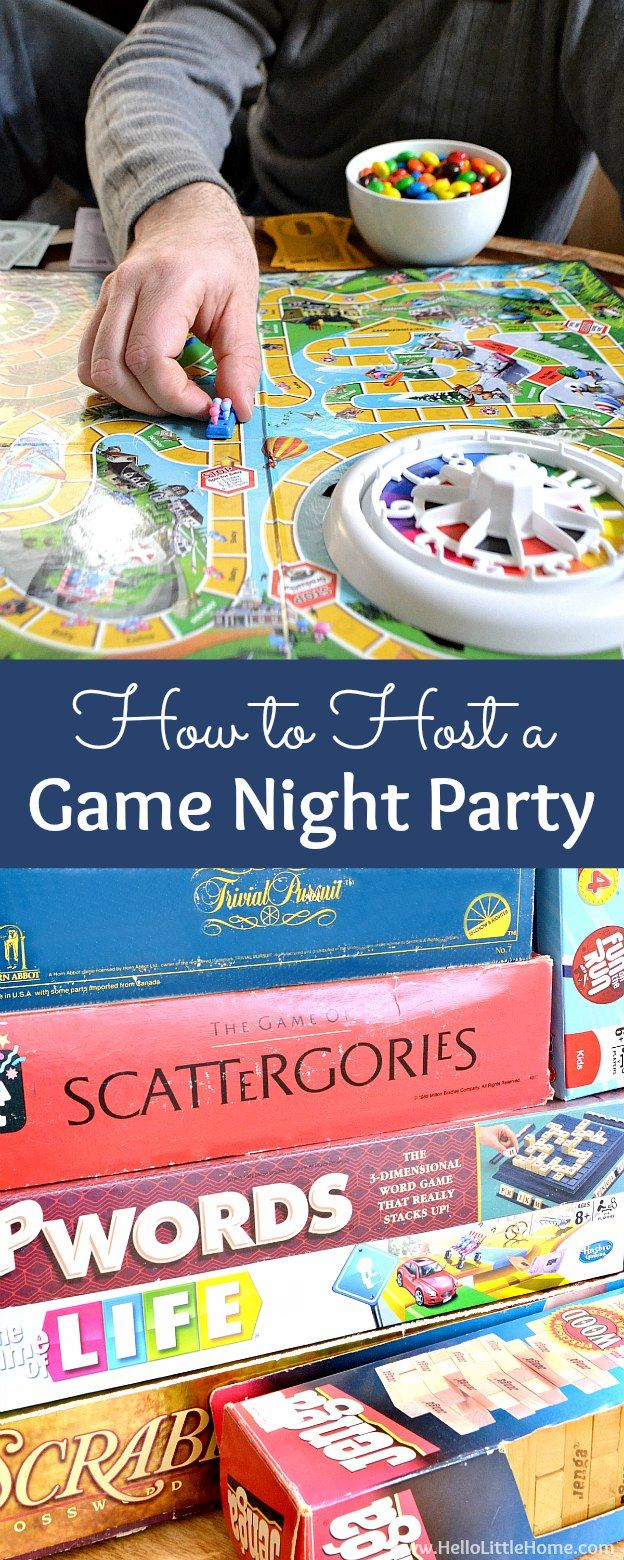 How to host a Game Night Party! Tons of fun and easy game night ideas from food to invitations to decorations, plus my favorite board games! | Hello Little Home