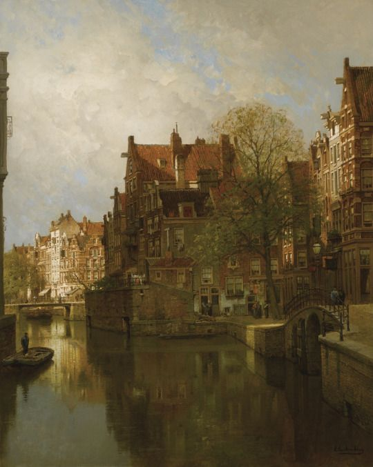 A View of the Grimburgwal, Amsterdam, Johannes Christiaan Karel Klinkenberg