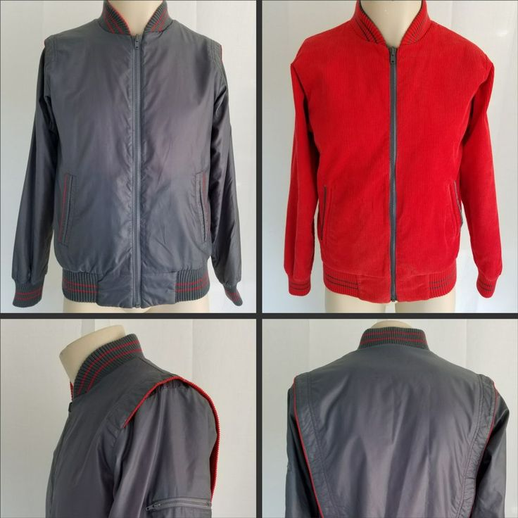 Vtg 80s ODYSSEY COLLECTION Reversible Hipster Jacket Shiny Gray Red Corduroy SM #OdysseyCollection