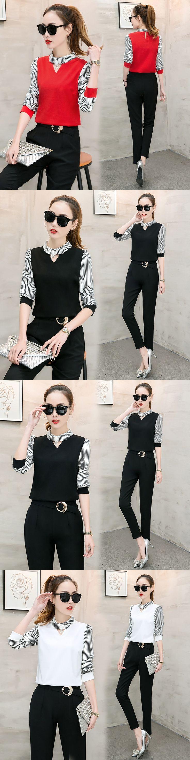 Autumn wear new casual pants suit korean fashion two-piece clothing set chiffon blouse stripe black pants office lady outfit