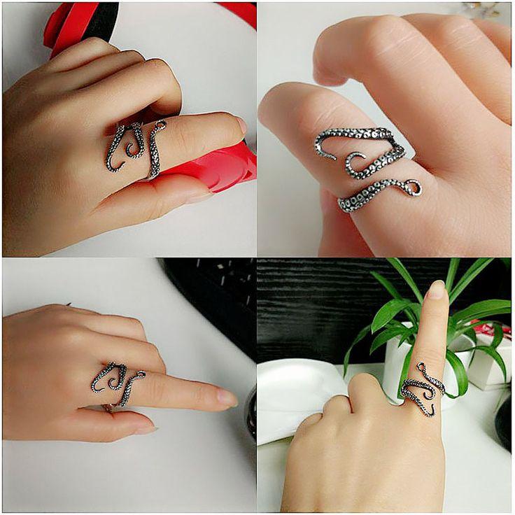 Женщины кольцо 2016 мода ювелирных изделий старинные серебряные оптовая продажа титана готический осьминог палец кольцо регулируемая мужская костяшки кольца купить на AliExpress
