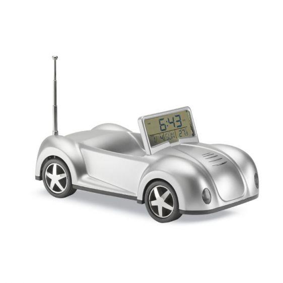 Radio sveglia a forma di automibile con funzioni di calendario e temperatura porta graffette 2 pile bottone su Ibiscus gadget