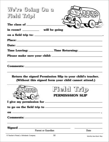 Field Trip Permission Slip - Scholastic Printables