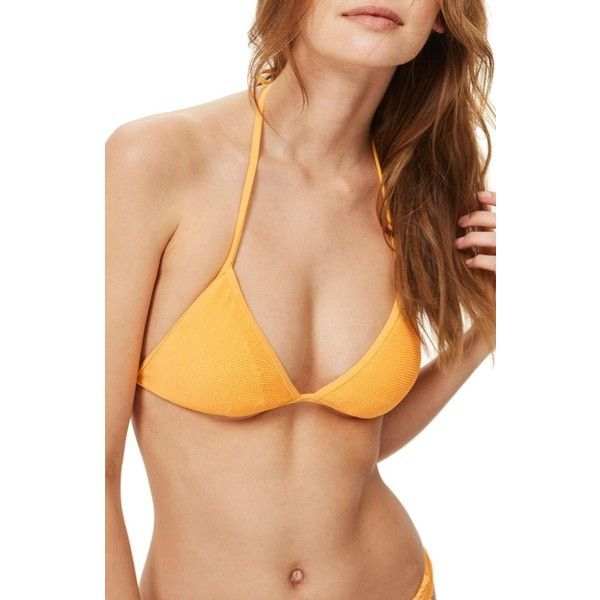 Women's Topshop Shirred Triangle Bikini Top (290 NOK) ❤ liked on Polyvore featuring swimwear, bikinis, bikini tops, orange, triangle bikinis, scrunch bikini, swim tops, ruched tankini top and swimsuit tops