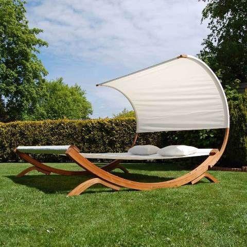 Doppel Gartenliege Liege mit Holzgestell 200x200x175cm – Bild 3
