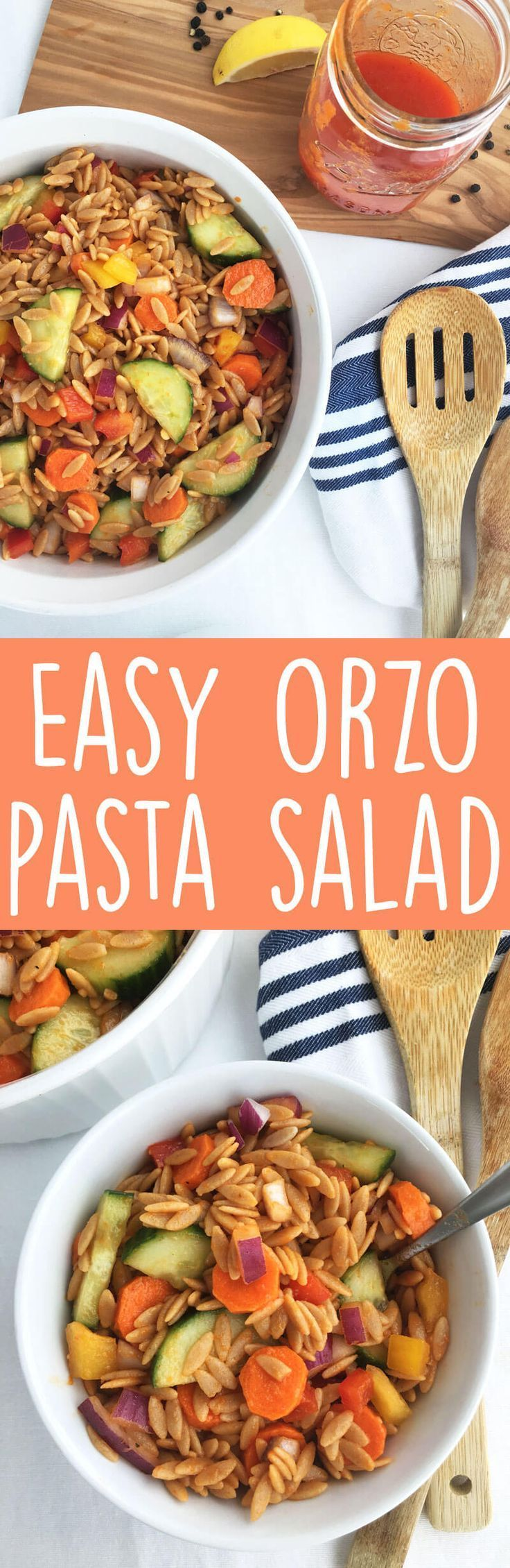 Easy Orzo Pasta Salad Recipe - Any time of year is the prefect time to make this delicious vegan pasta salad recipe! Toss it with roasted red pepper dressing and you have a healthy side dish loaded with veggies and flavor. | thecrunchychronicles.com
