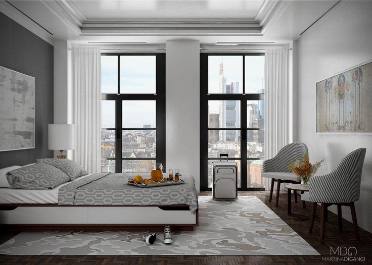 #interior #hotel #bedroom #bed - Rendering: Cinema 4D + Vray Post-produzione: Photoshop e Lightroom