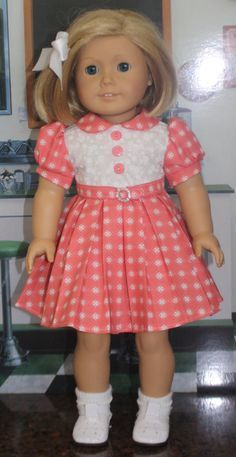 American Girl Style Pleated Dress in Peachy by RuthielovestoSew