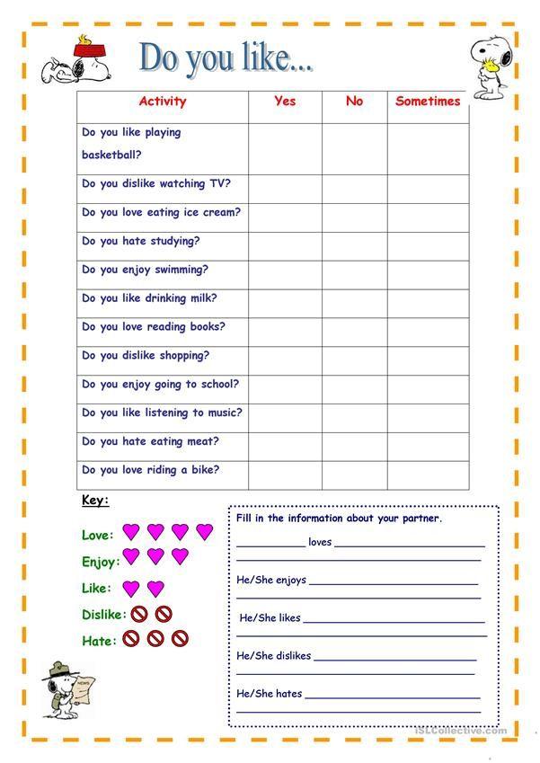 Do You Like Speaking Activity Material Escolar En Ingles Ejercicios De Ingles Ingles Para Preescolar