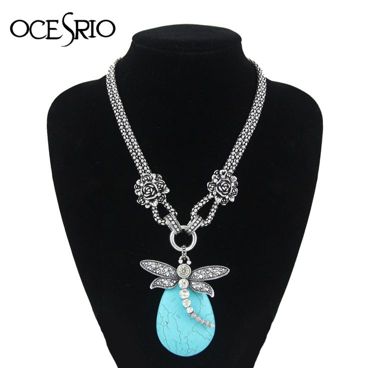 Double Chain Vintage Blue Turquoise Choker Necklace Dragonfly Pendant Big Choker Necklaces for Women Vintage Jewelry nke-j42 //Price: $11.40 & FREE Shipping //     #hairextension #style #beauty #woman #love
