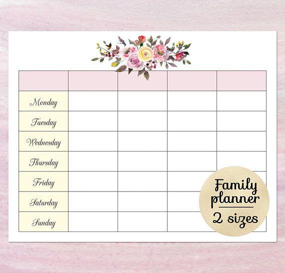 Printable blank calendar planner Blank weekly schedule