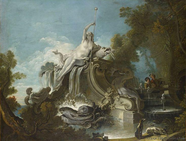 Jacques de Lajoüe (Paris 1686 - 1761). La fontaine d'Amphitrite. Huile sur toile. Spécialisé dans les peintures d'ornements et de sujets architecturaux, influencé par Boucher, il était un des plus typiques peintres rocaille  du XVIIIe siècle. Il devint membre de l'Académie Royale de Peinture et de Sculpture en 1721. C'était aussi un habile décorateur et dessinateur-architecte. Il publie notamment en 1740 un recueil de gravures à motifs rocailles décoratifs, Paysages et Perspectives.