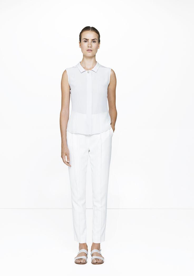 White trousers & silk shirt /457-2901/248-4141  ELISE GUG SS15