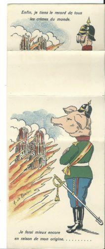 WW1-Anti-Kaiser-propaganda-mechanical-carte-a-system-Guillaume-II-Ranieri-pig
