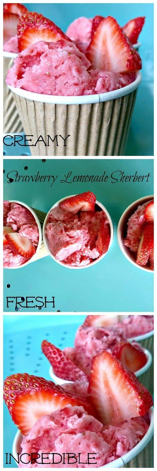Strawberry Lemonade Sherbet! #strawberry #lemonade #sherbet #recipe #dessert #treat #snack #quick #easy #creamy #icecream (scheduled via http://www.tailwindapp.com?utm_source=pinterest&utm_medium=twpin&utm_content=post62476668&utm_campaign=scheduler_attribution)