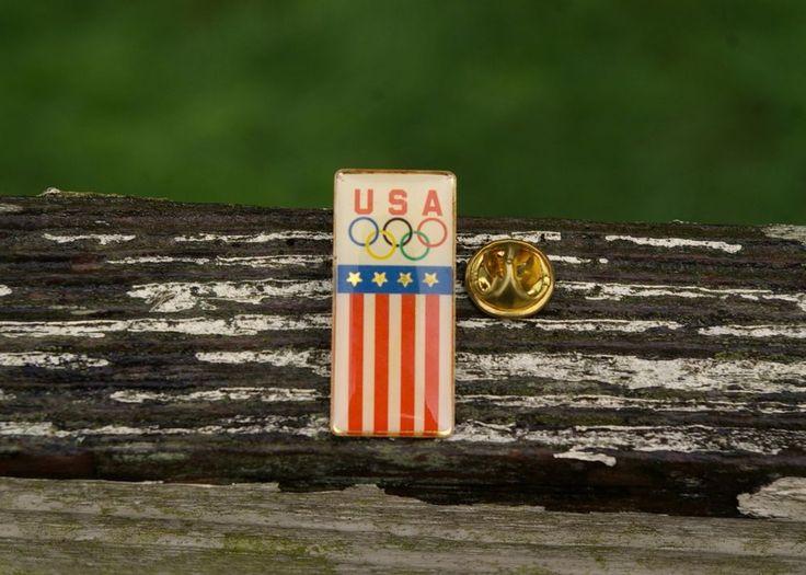 USA Olympics Lapel Pin Pinback American Flag Banner Stars Stripes Metal Enamel  | eBay