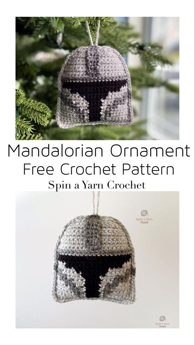 Mandalorian Ornament Free Crochet Pattern Spin A Yarn Crochet Star Wars Crochet Crochet Crochet Xmas