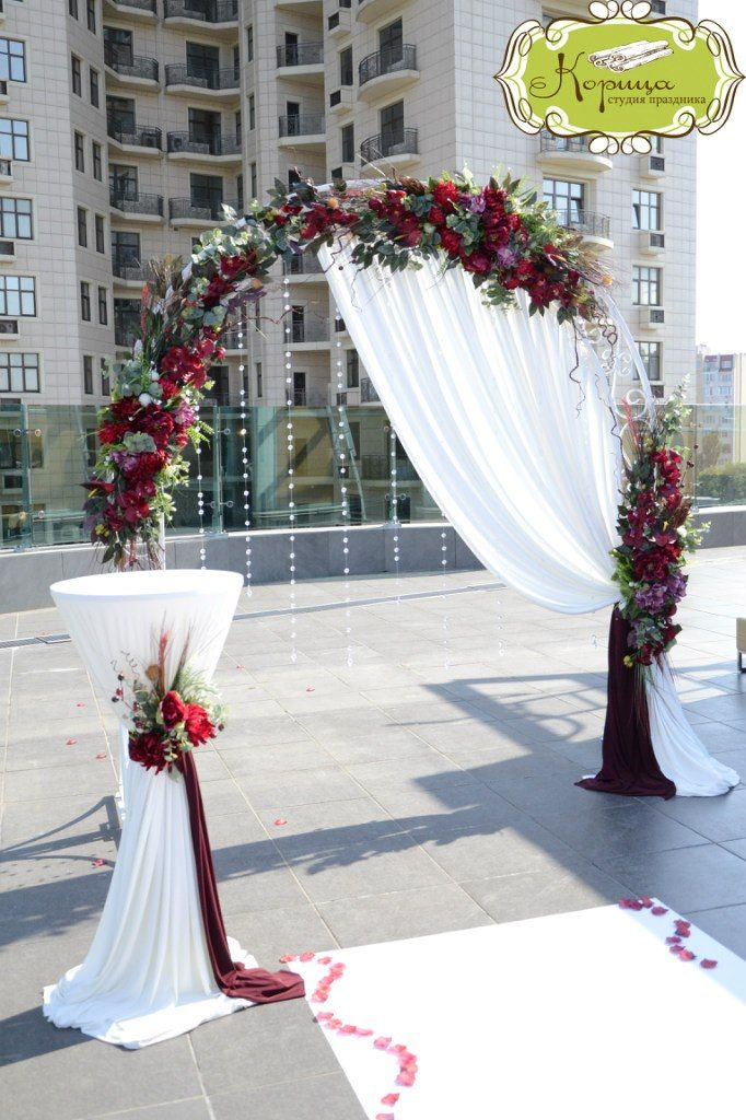 arch decorations for wedding ceremony gorgeous berry toned wedding arch and ceremony decorations 1360