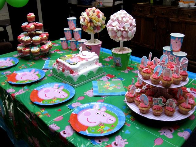 Peppa Pig party (check out the candy topiaries!)  #peppapig #table
