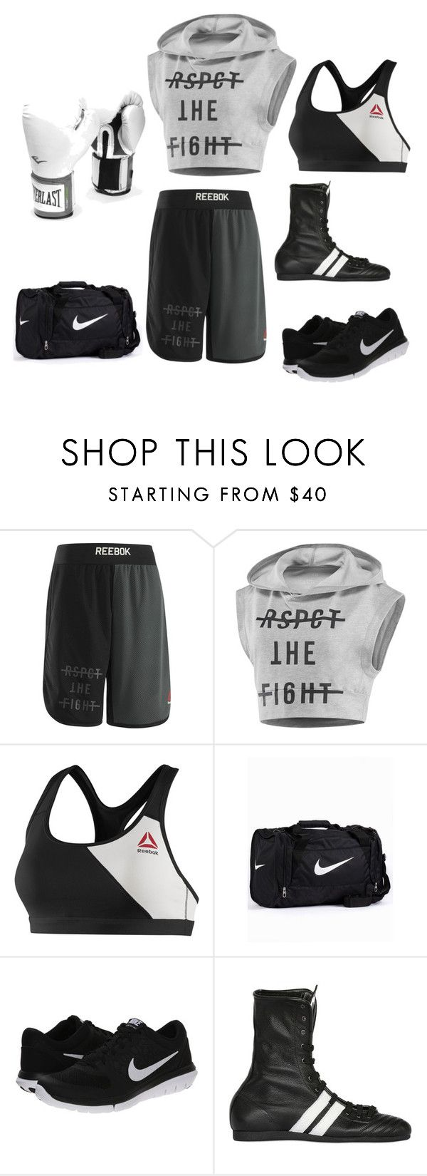 """Boxing outfit #2"" by katiejaneferg ❤ liked on Polyvore featuring mode, Reebok, NIKE, Leone 1947 et Everlast"