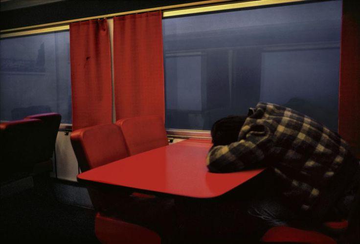 © Harry Gruyaert, In a train on the way to Paris, Belgium, Brussels 1981