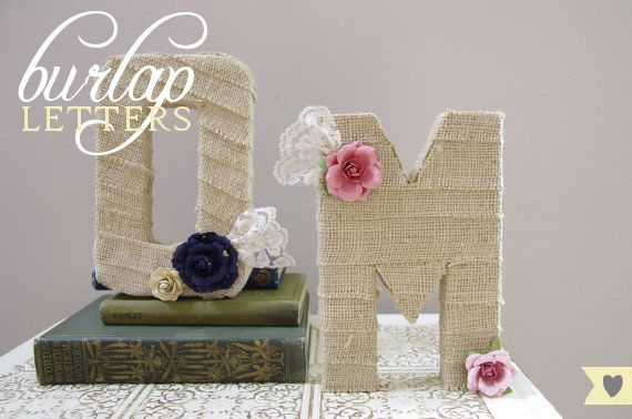 Medium Burlap Wrapped Letter M - wedding decoration monogram for cake topper,