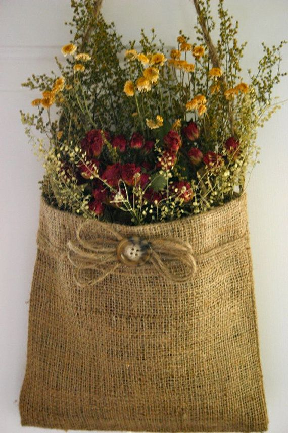 Handmade Dried Flower Arrangement in Burlap by CloverHollowDesigns, $27.00