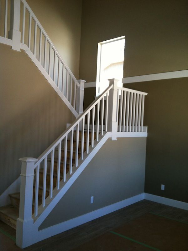 White Alder Stair Rail with Square Balusters and Newels non-cut string