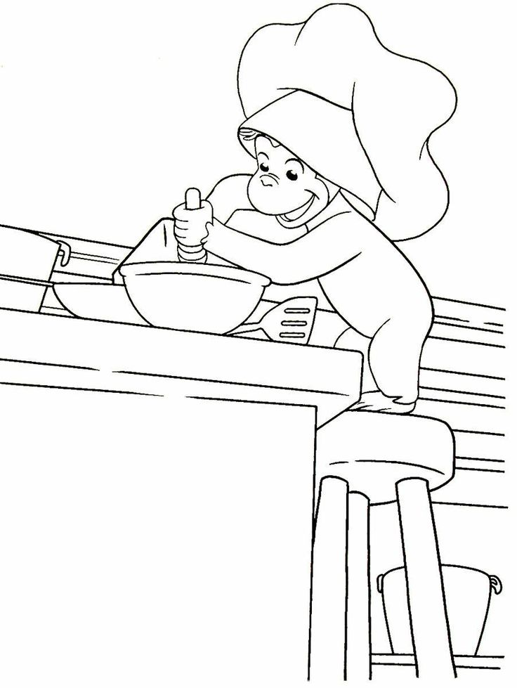Curious George having fun baking in the kitchen printable ...