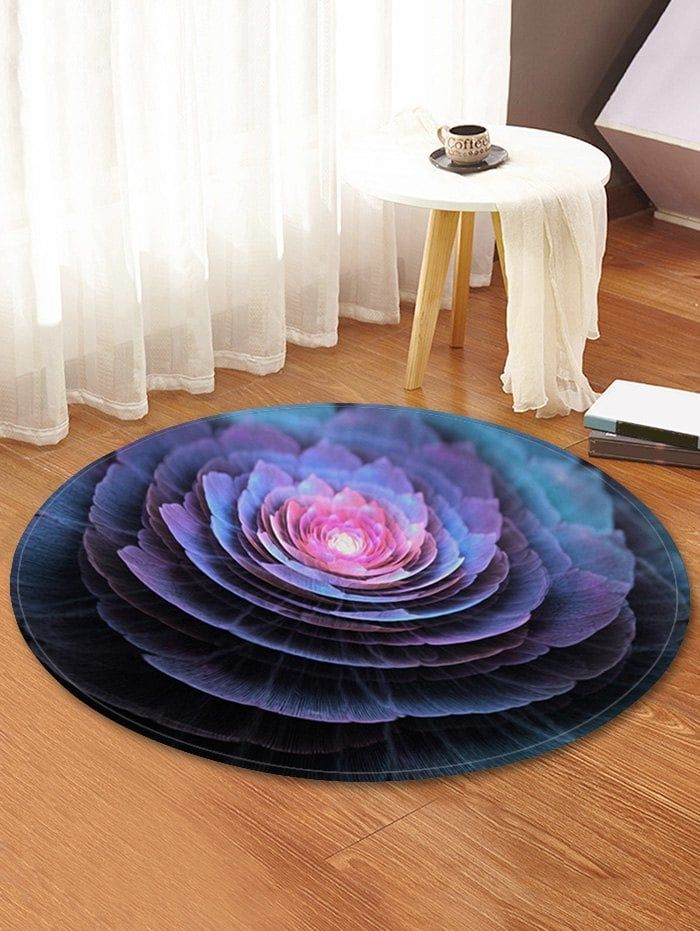 Flower Print Round Fleece Floor Rug