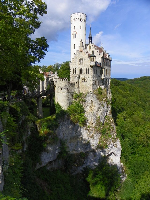 """Schloss Lichtenstein"" offers very impressive views thanks to its position on a tall cliff. It appears more fairytale than medieval.Famous castles in Germany."