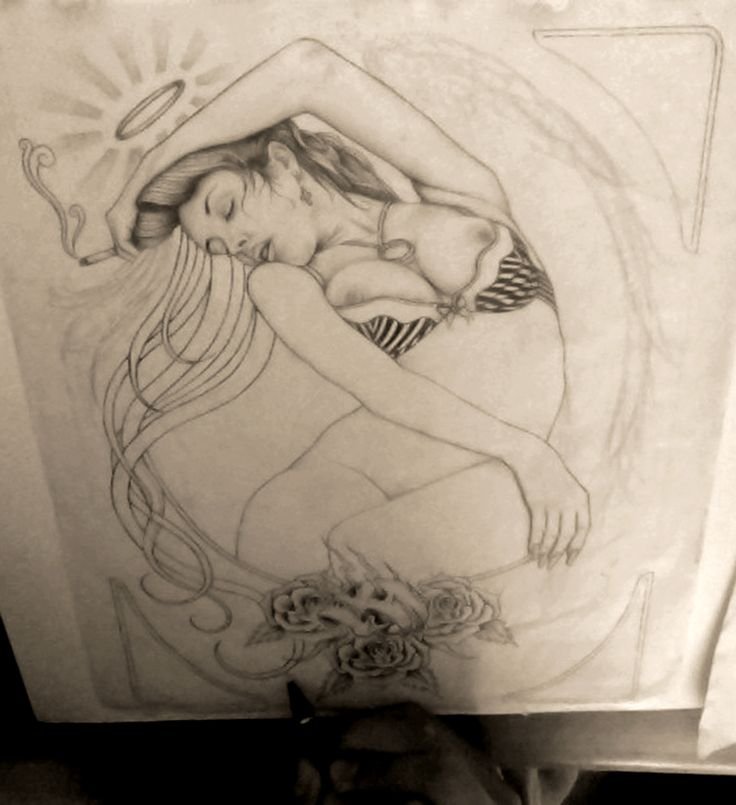 By Roman Porroga. Process of illustration inspired in latino art culture of Los Angeles C., Beauty, tattoo culture in general, art nouveau, tenebrism and more..