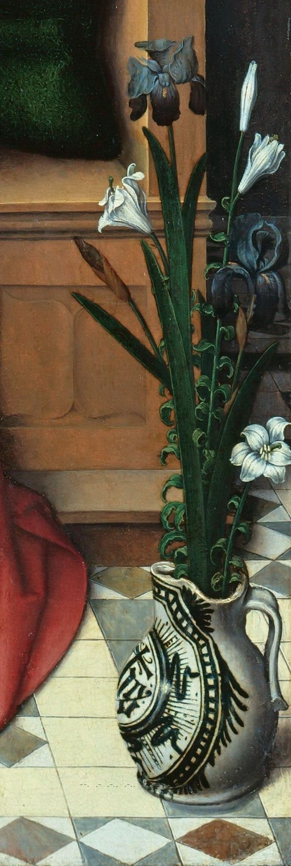 Hans Memling (1433-35 - 1494) - Enthroned Madonna with Child detail